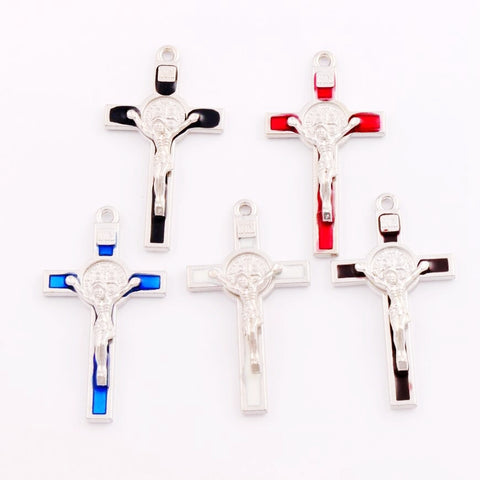 4pcs  53.1x29.2mm 5Color Enamel Saint Benedict Medal Italia Crucifix Cross Religious Spacer Beads Pendants Alloy Handmade L1715