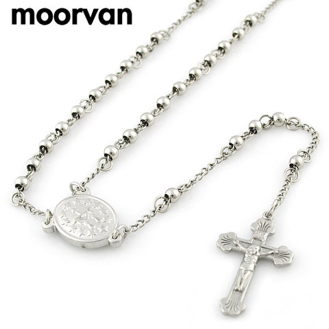 60cm 4mm long beads necklace for men,classic stainless steel rosary cross catholic religious jewelry cross jesus necklace VRN13