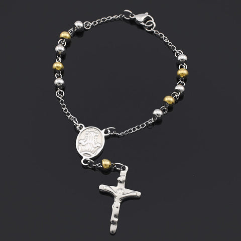 6mm Gold Silver beads Stainless Steel Rosary Religious catholic Bracelet friends Fine Religious Jewelry Christmas Gifts BRN58