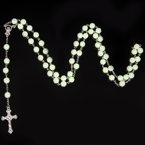 8mm Glow in dark Rosary Beads INRI JESUS Cross Crucifix PendantNecklace Catholic Fashion Religious jewelry Wholesale