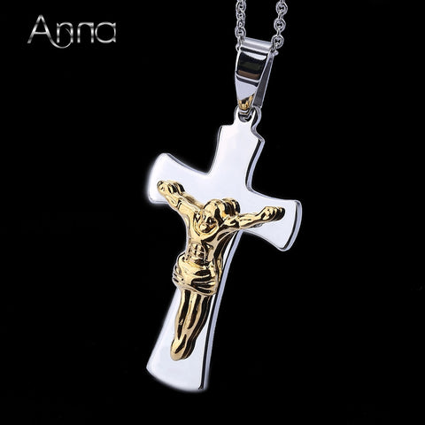 A&N High quality Large Traditional Crucifix Pendant Necklace Jesus Christ Cross Religious Pendant Necklace Stainless Steel