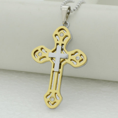 Alloy Cross Pendant Necklace Men Jewelry Catholic Crucifix Jerusalem Religious Crosses Women Christian,Stainless Ball Chain/Rope