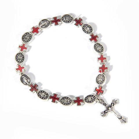 Antique Silver Plated 9mm Beads Adjustable Rosary Bracelet Crucifix Cross St. Benedict Saint Catholic Gift