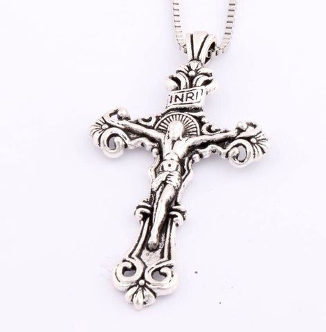 Antique Silver Traditional Large Crucifix Pendant Necklaces Cross Medallion Necklace N1656 24inches