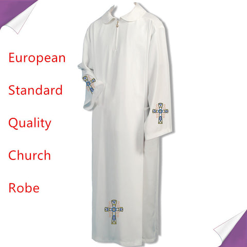 BLESSUME Catholic White Alb Vestments Solid Robe Church Clergy Vestments Catholic Priest Chasuble Robe cattolico