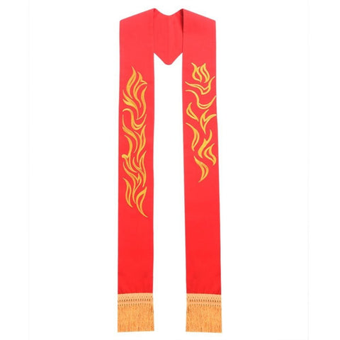 Clergy Red Exquisite Embroidered Stole with Golden Tassels for Vestments