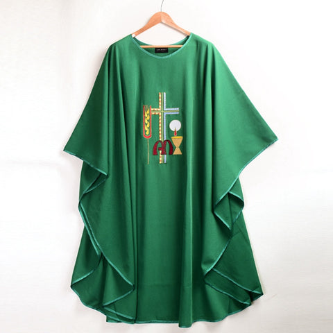 Cross Wheat Embroidered Chasuble Vestments Green Church Priest Garment