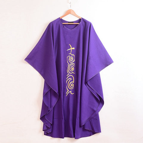 Church Purple Chasuble Cross Embroidered Priest Vestments Robe
