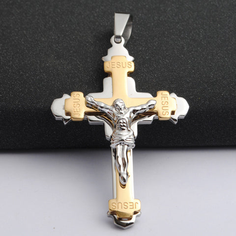 David Kabel 361L Stainless Steel Gold Plated Crystal Jesus Cross Pendant Necklaces Saint Benedict Cross Crucifix