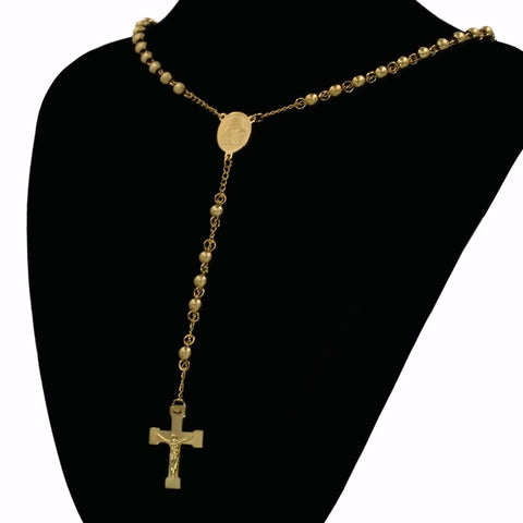 Catholic Religious Crucifix Necklaces & Pendants Stainless Steel Long Cross Virgin Mary Necklace With Bead Chain Jewelry