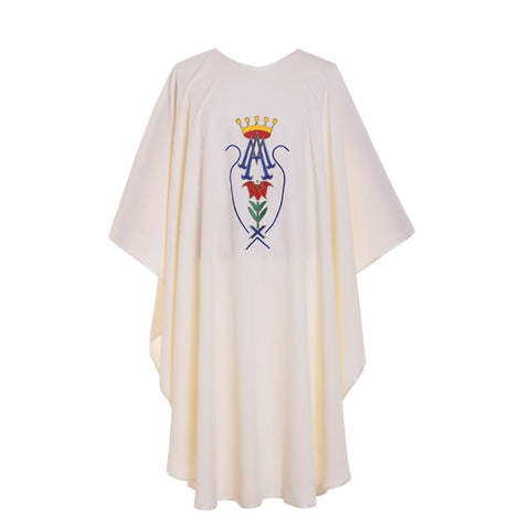 Holy White Crown Pattern Embroidered Catholic Church Priest Chasuble Vestments