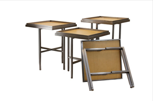 "25"" Adjustable Height Folding Bistro/Display Table in Maple and Steel"