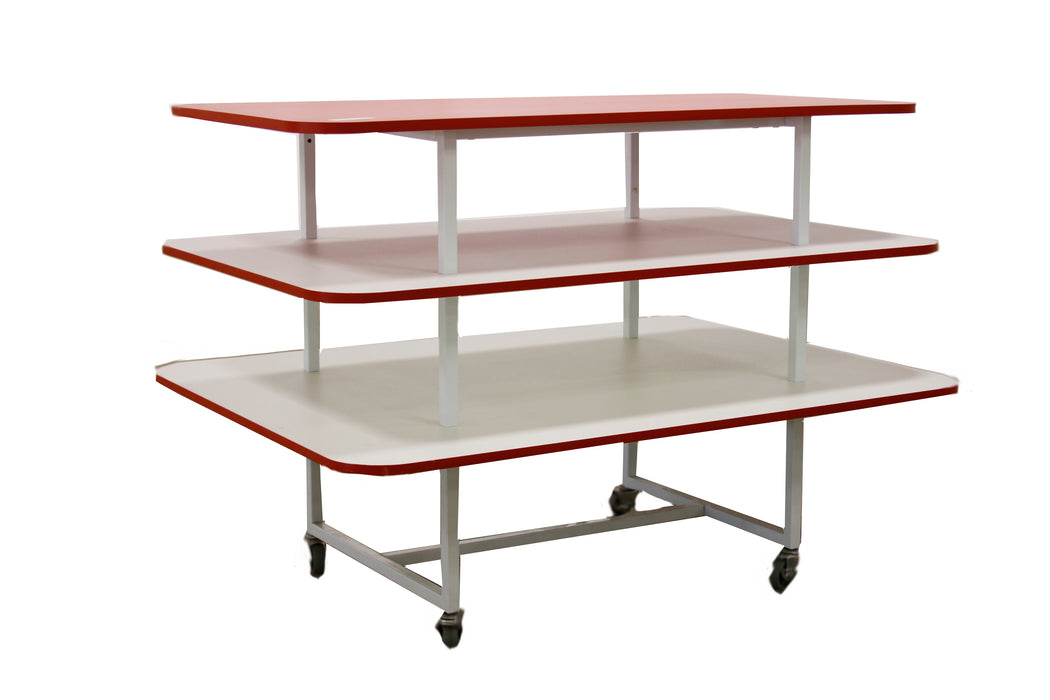 3 Tier Melamine Display Table in Red and White