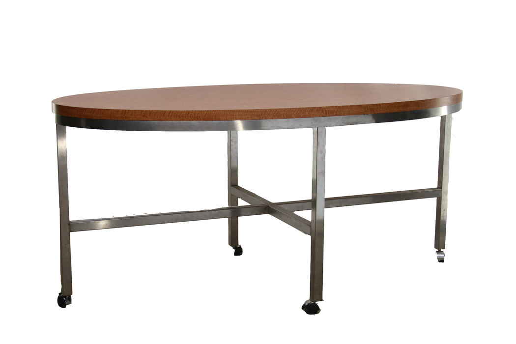 Oval 3'x6' Conference Table in Curly Maple and Brushed Steel