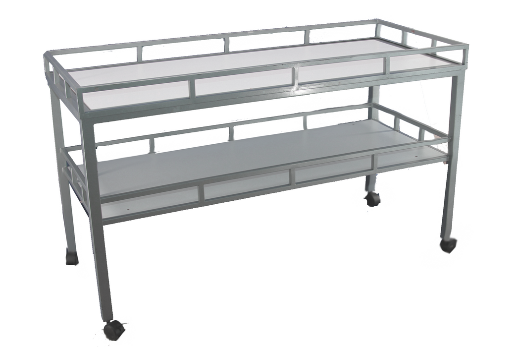 Rolling Two Tiered Merchandise Table in Tubular Steel and White Laminate