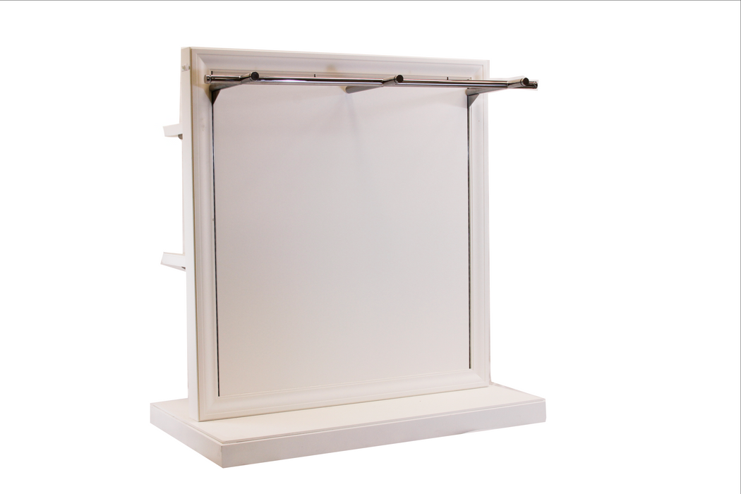 Rolling Gondola Shelving Off-White Transitional Mitred with Adjustable Chrome Bar and Shelving