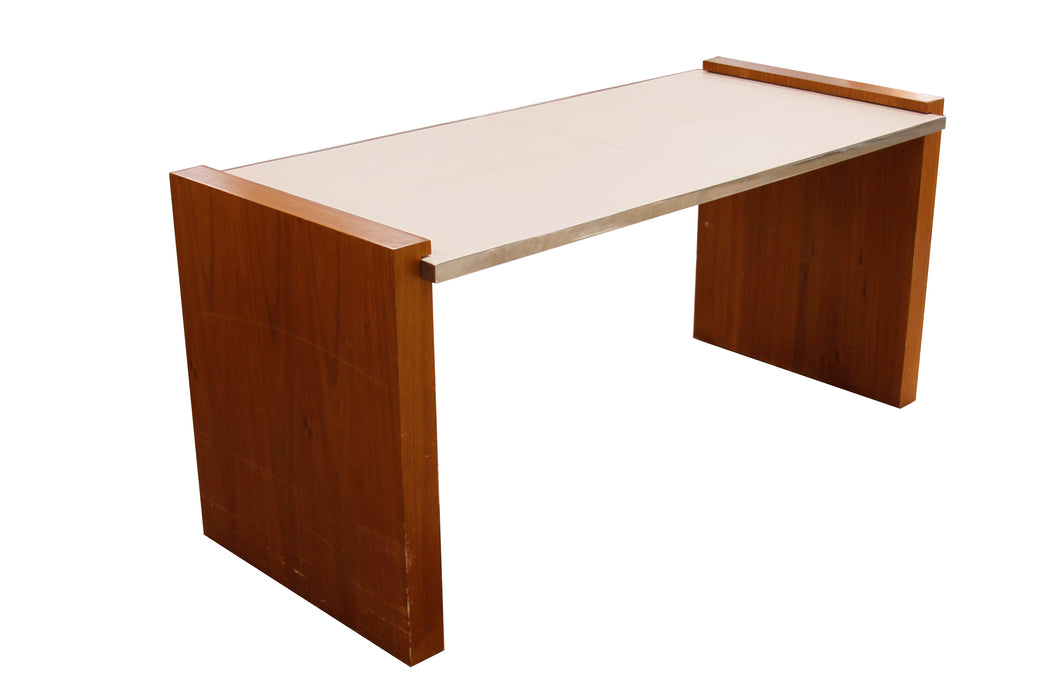 Cream Leather Topped Wood Veneer Desk with Stainless Accents