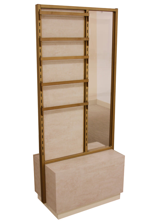 2-sided Jewelry Display Table with Cabinet Storage in Bronze and Parchment