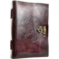 Pentagram leather blank book w/ latch