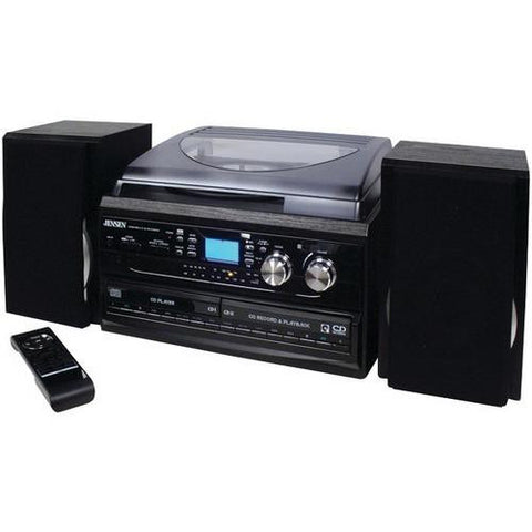 JENSEN JTA-980 3-Speed Turntable System with CD & Cassette Encoding