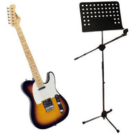 42-Inch 6 String Double Cutaway Paulownia Wood Electric Guitar (3 Color Sunburst) + Heavy Duty Tripod Microphone And Music Note Stand.