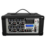 4-Channel 400 Watt Powered Mixer, AUX (3.5mm) Input, SD Memory Card & USB Flash Drive Readers, LCD Display