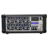 6-Channel 600 Watt Powered Mixer, AUX (3.5mm) Input, SD Memory Card & USB Flash Drive Readers, LCD Display