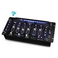 Bluetooth 6-Channel DJ Mixer 19'' 5U Rack Mount System Digital LED Illuminated Controls