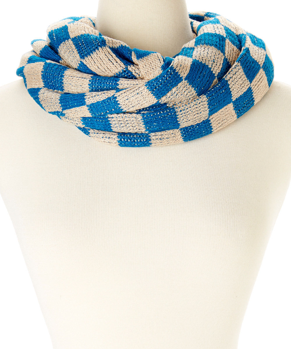 Women Two Color Checkered Crochet Knit Infinity Scarf 995890bd49a1