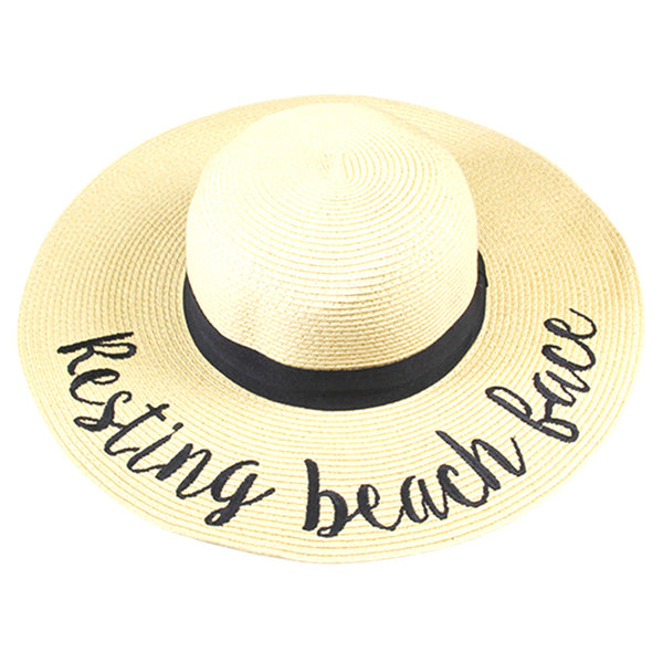 Resting Beach Face Embroidered Wide Brim Straw Floppy Sun Hat – Scarf And  Beyond 4c986087b33
