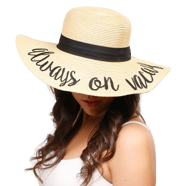 e595105b3 Always On Vacay Embroidered Wide Brim Straw Floppy Sun Hat