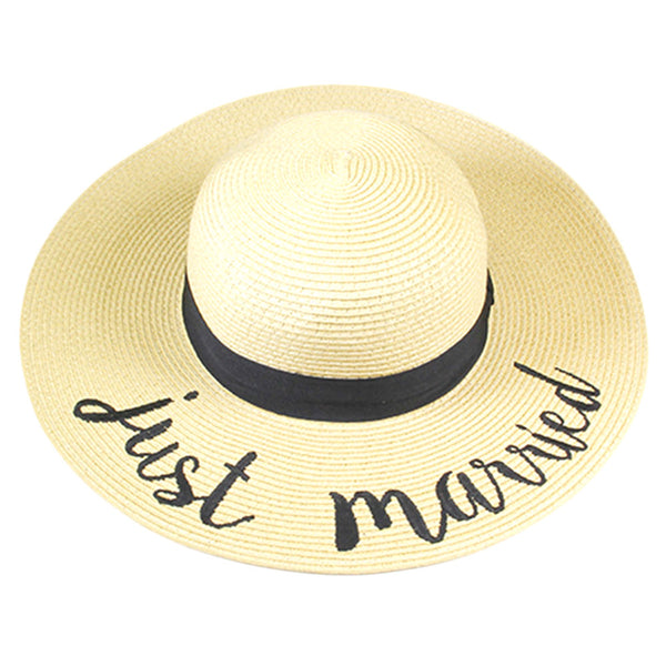 b2d78342 Just Married Embroidered Wide Brim Straw Floppy Sun Hat – Scarf And Beyond