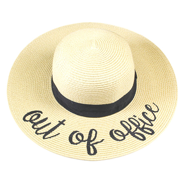 289e7a179c493 Out of Office Embroidered Wide Brim Straw Floppy Sun Hat