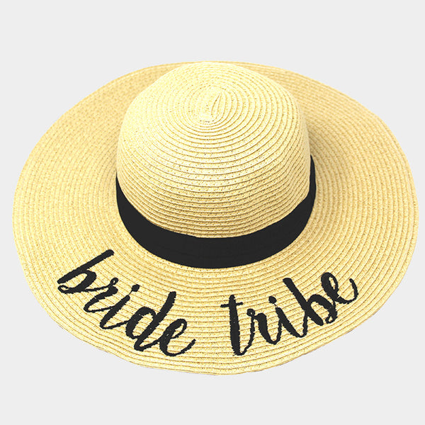 Bride Tribe Embroidered Wide Brim Straw Floppy Sun Hat – Scarf And Beyond 7ab020b6293