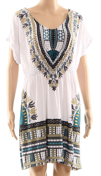 Women White Green Tunic Style Short Summer Dress Scarf