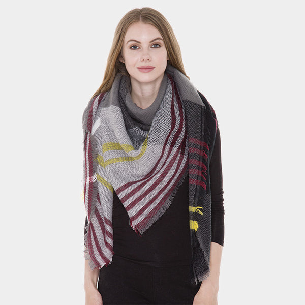 e7e6d9f75c78e Amtal Women Plaid Checkered Oversize Winter Blanket Grey Scarf – Scarf And  Beyond