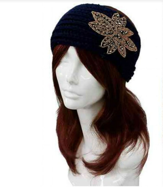 Women Navy Jeweled Floral Knit Headband Wrap Scarf And