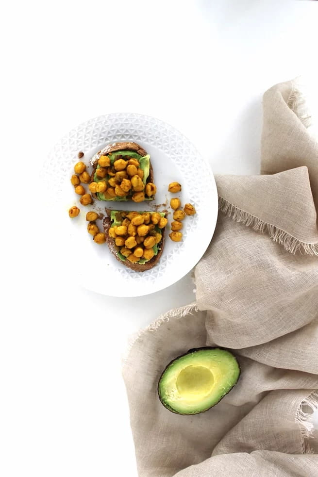 Avocado Toast w/ Savoury Spiced Chickpeas - Vegan toast toppings 3 ways