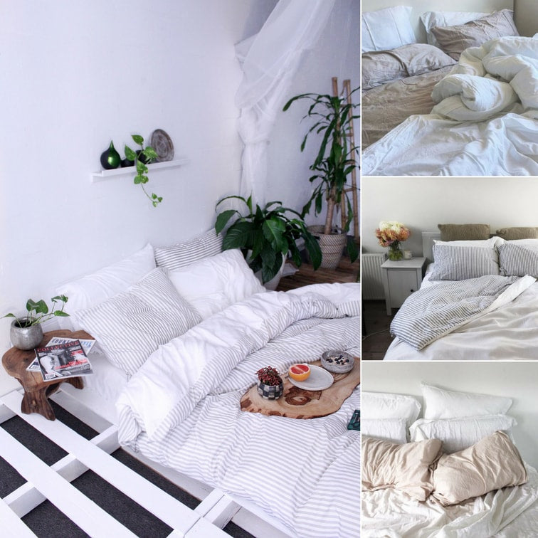 simple printed sheets - White Bamboo bedding