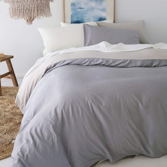 Bamboo Doona Cover Set - Pewter & Silver - Double Sided
