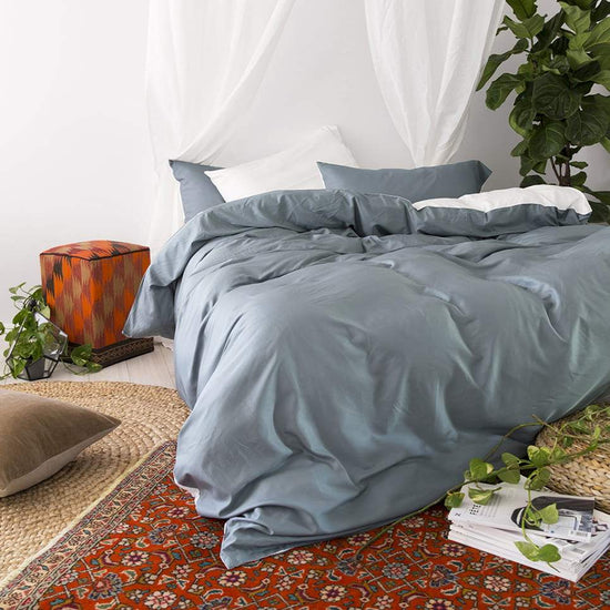 Bamboo Doona Cover Set - Teal & White - Double Sided