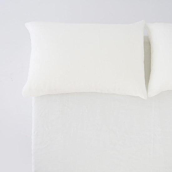 100% Linen Fitted Sheet - White