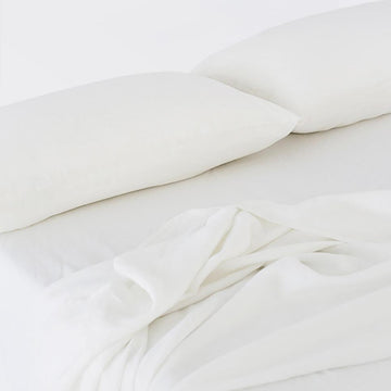 100% Linen Sheet Set - White