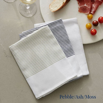 3pk Tea Towel - Pebble/Ash/Moss