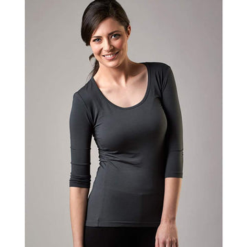 Bamboo 3/4 Sleeve Scoop Top - Olive Grey