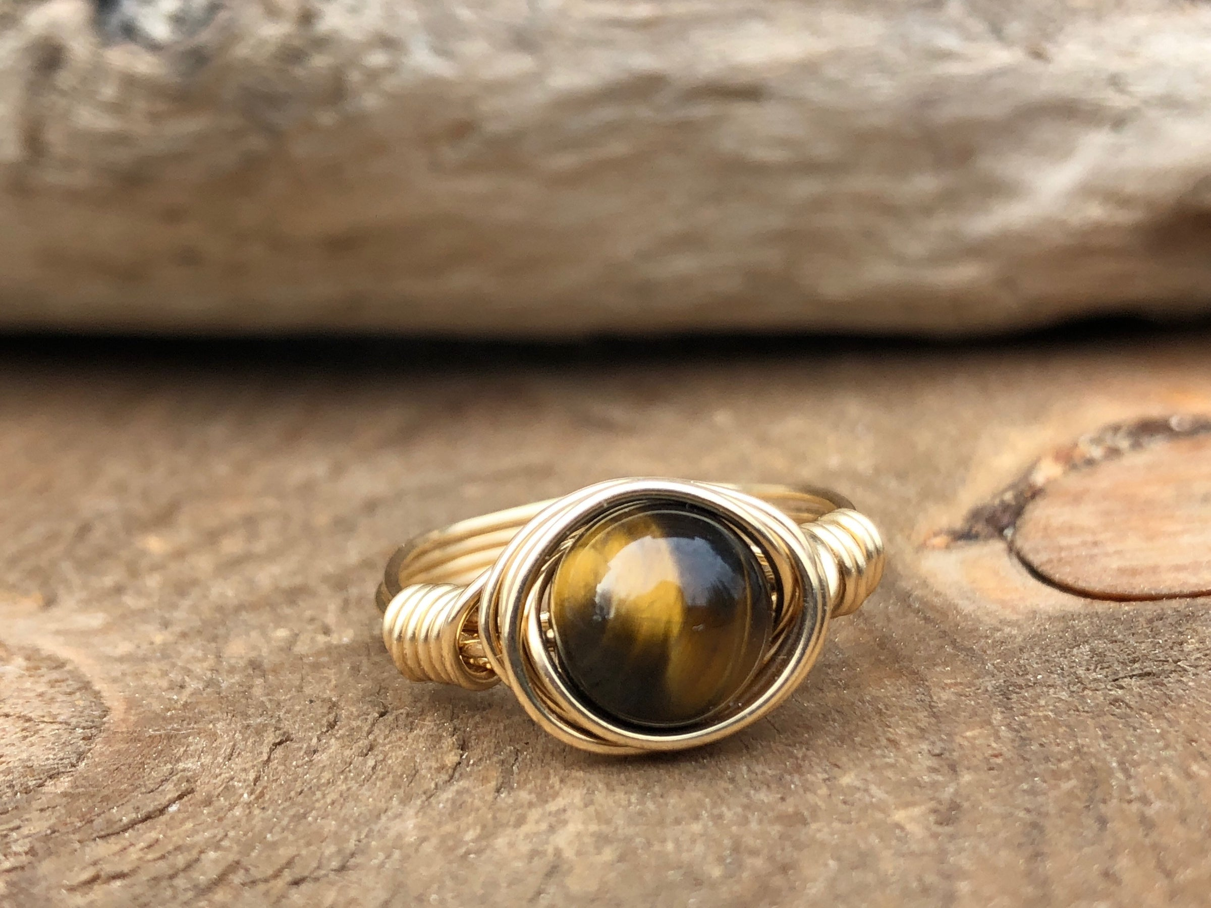 6mm Crystal wrapped rings Tigers eye /& Opal