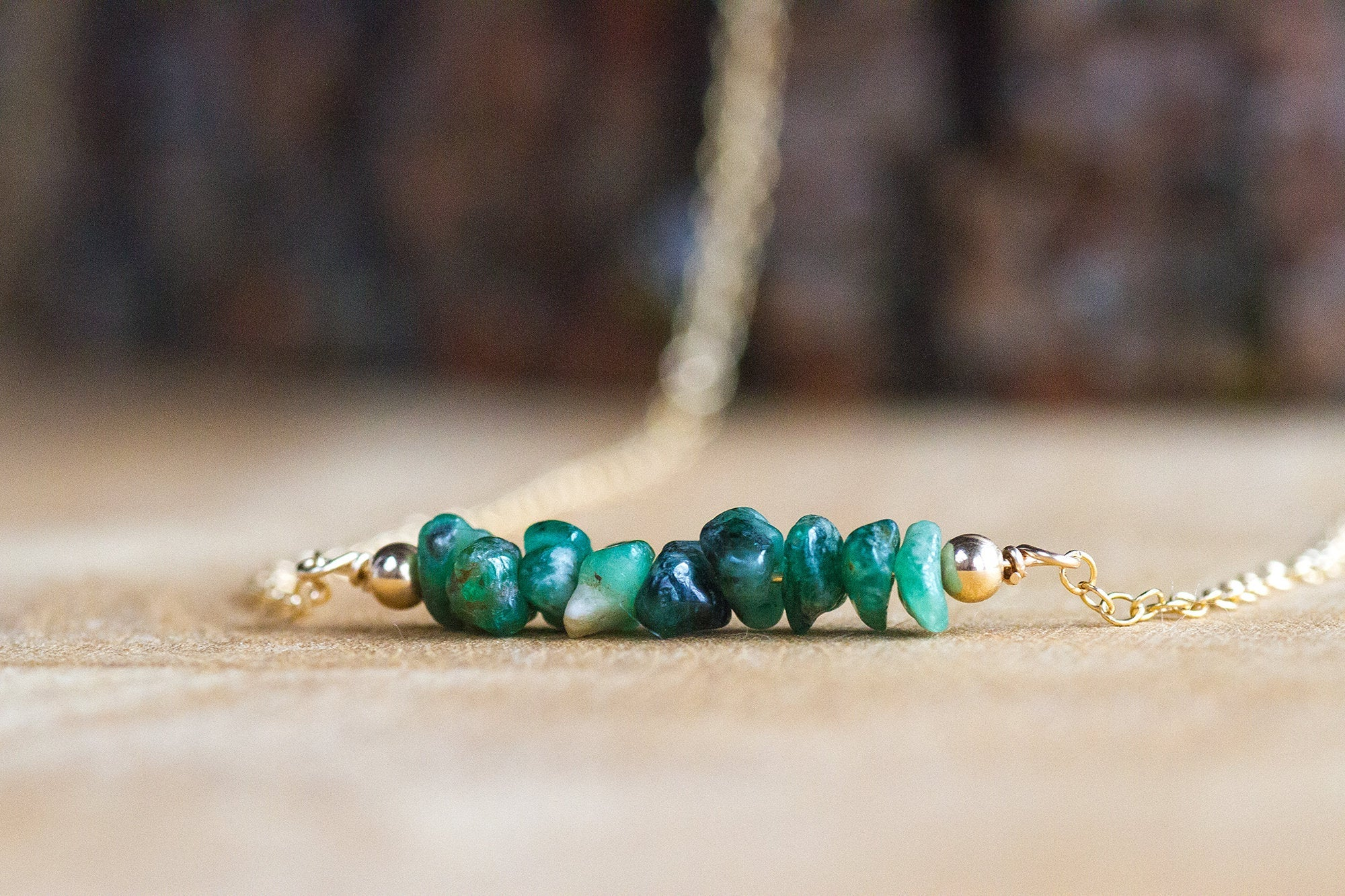 May Birthstone Necklace May Birthstone Jewelry Raw Crystal Necklace Taurus Necklace Emerald Necklace Raw Emerald Necklace
