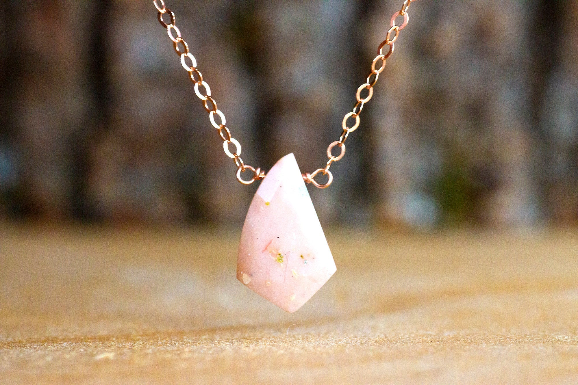 October Birthstone Pink Opal Necklace