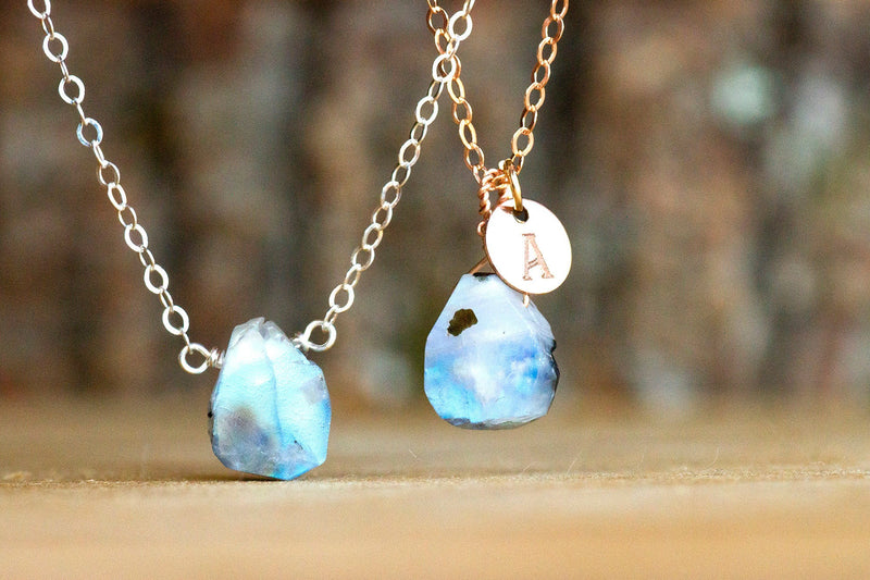 Rainbow Moonstone Crystal Necklace Rose Gold or Sterling Silver June Birthstone Raw Moonstone necklace in 14k Gold Filled Raw Stone