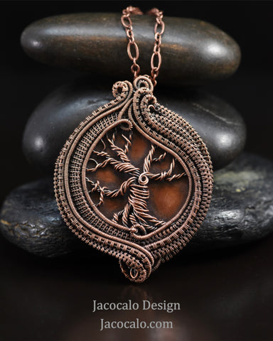 Enduring - Copper Tree of Life Woven Wire Necklace